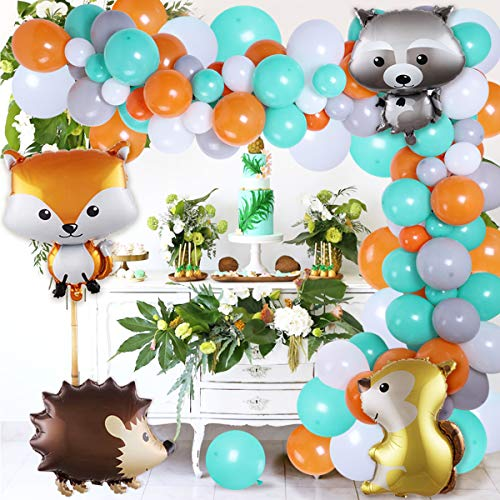 Woodland Balloon Garland Arch Kit 114 Pack for Woodland Animal 1st, 2nd and 3rd Birthday Party, Baby Shower with Woodland Creatures Balloons