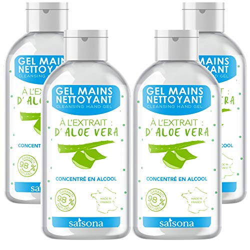 Gel Mains Nettoyant - (Lot de 4) Aloe Vera 75ml -...