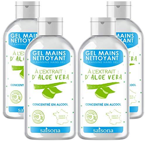 Gel Mains Nettoyant - (Lot de 4) Aloe Vera 75ml - Saisona - Cosmétique Naturel et écologique.