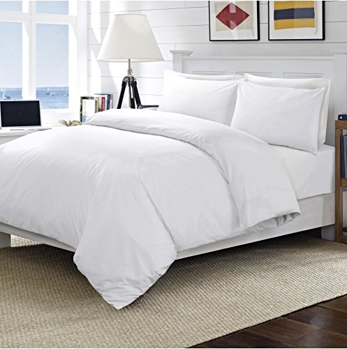 Linens World 200 Thread Count 100% Egyptian Cotton Duvet Quilt Cover Bedding Sets with Pillow cases (White, Double)