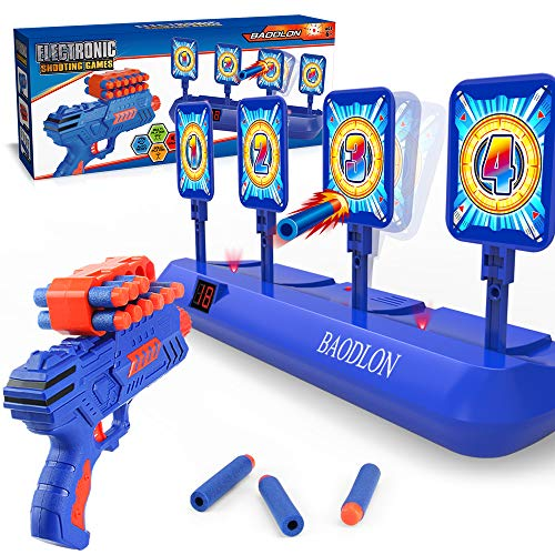 BAODLON Digital Shooting Targets with Foam Dart Toy Gun, Electronic Scoring Auto Reset 4 Targets Toys, Fun Toys for Age of 5,6,7,8,9,10+ Years Old Kids, Boys & Girls, Compatible with Nerf Toys