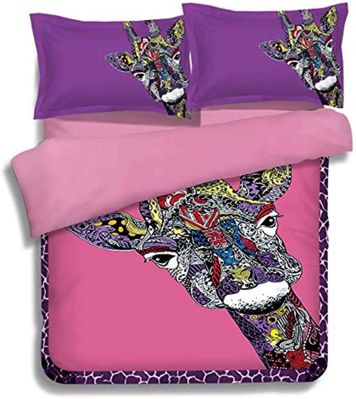 MeMoreCool Duvet Cover Sets Queen Cartoon Giraffe Bedding Set Comforter Cover Twin (1 Duvet Cover+1 Fitted Sheet+1 Pillow sham)