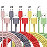 ZUPIHOW Micro USB Cable(6FT 5Pack) Android Charger TPE Cable Charger Long Android Phone Charger Cord for Samsung Galaxy S7 S6 Edge J7 S5 Note 5 4 LG G4 K40 K20 MP3 Nokia Sony Quick Data Cord