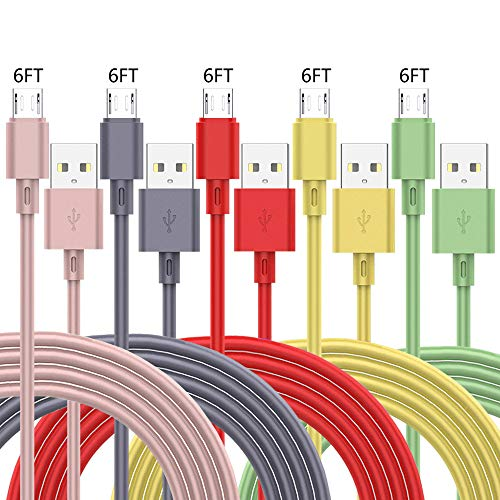 ZUPIHOW Micro USB Cable(6FT 5Pack) Android Charger TPE Cable Charger...