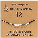 YooAi Bracciale codice Morse Regali di Buon Compleanno per Ragazze Ragazzi Bracciale in Argento Gioielli Regalo di Compleanno per 18 Anni Perline su Cordoncino di Seta 18