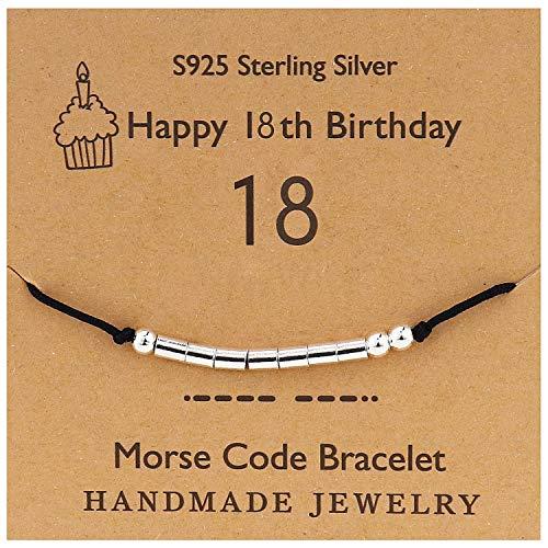 YooAi Morse Code Pulsera Regalos de Feliz cumpleaños para niñas Niños Pulsera de Plata esterlina Regalo de cumpleaños Joyas para 18 años Cuentas en cordón de Seda 18