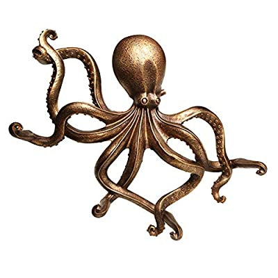 ART & ARTIFACT Octopus Toilet Paper Holder - Nautical Bathroom Decor Wall Art Hanging Holds 5 Rolls of Toilet Tissue