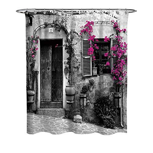 WFLJ Britse stijl patroon badkamer gordijn voor Home Decor, waterdicht en meeldauw gemakkelijk te plaatsen stof douchegordijn voor bad bad bad en douchecabine, met 12 stuks haken