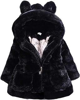 Kids Girl Faux Fur Coat Winter Jacket Thicken Hoodies Outerwear Children Parka