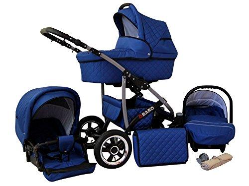 Lux4Kids Q Baro 3 in 1 Cochecito Combinado (asiento del coche incluye adaptadores, cubierta para la lluvia, mosquitero, ruedas giratorias 9 colores) 05 azul