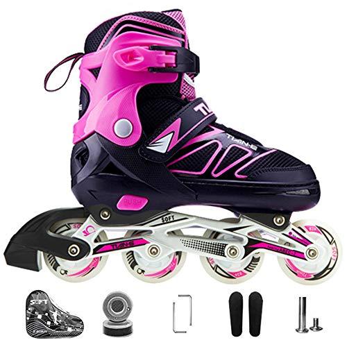 Kinder Herren Damen Inliner Inlineskates ABEC-7 Chrome Kugellager Einstellbare Unisex Fitness Skates für Erwachsene Anfänger mädchen Jungen-Pink L(38-41)