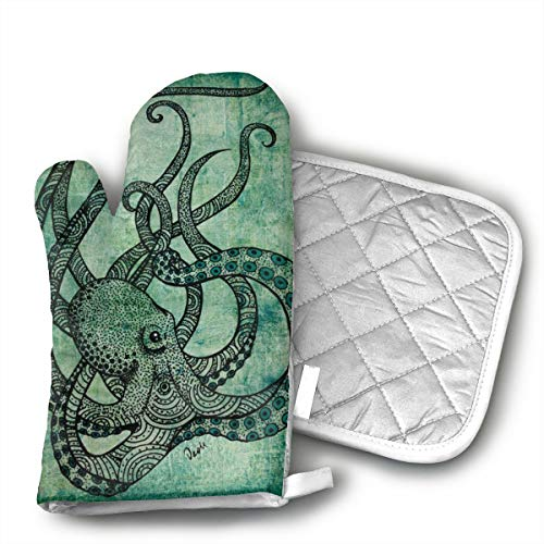 Green Octopus Oven Mitts and Potholders