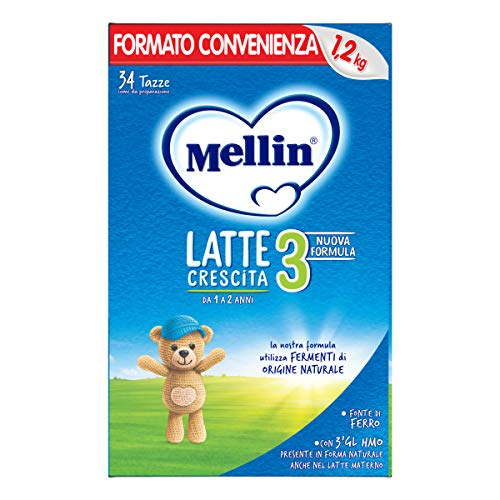 Mellin 3 Latte in Polvere di Crescita - 3 Confezioni di 1200gr [Totale = 3600gr]