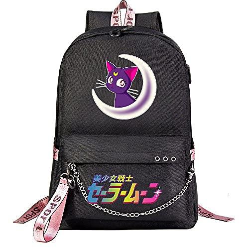ZXXFR Mochila bolsos Anime Sailor Moon Teen Student School Bag Negro senderismo portatil ordenador instituto escolares juveniles bolso