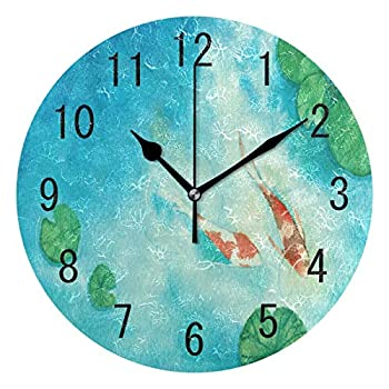 ALAZA Home Decor Watercolor Oil Painting Koi Carp Fish Lotus Leaves Round Acrylic 9.5 Inch Wall Clock Non Ticking Silent Clock Art for Living Room Kitchen Bedroom