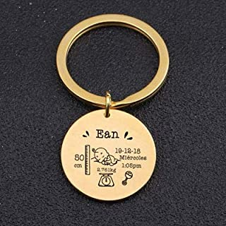 8HAOWENJU Round Baby Keychain Personalized Name Date of Birth Weight Time Height for Newborn Commemorate Baby Stats Keyring New Mom Gift (Color : Gold)