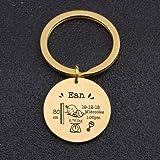 JINSUO 8HAOWENJU Runde Baby-Schlüsselanhänger Personalisierte Namen Geburtsdatum Gewicht Zeit Höhe for Neugeborene Baby-Gedenken Statistik Keyring New Mom Gift (Farbe : Gold)