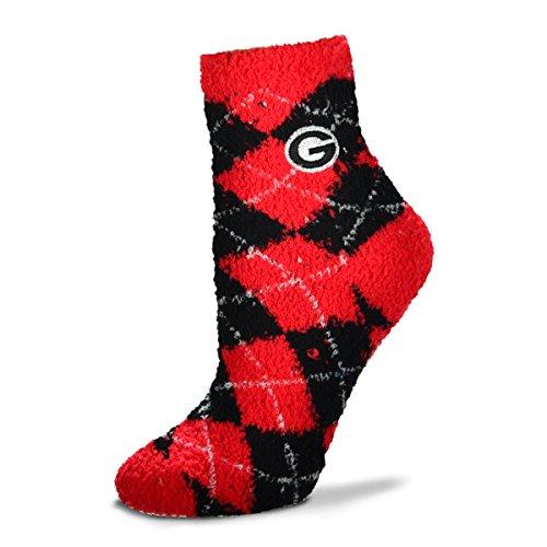 For Bare Feet NCAA Argyle Fuzzy Sleep Socks-Medium-Georgia Bulldogs