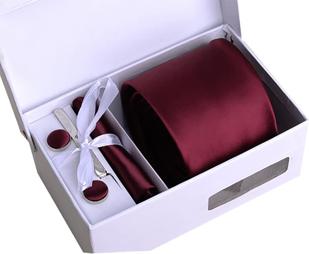 Lnrueg Necktie Box Set Formal Soft Silky Adjustable Tie Bar Clip Pocket Handkerchief for Man Kerchief Pinch Square
