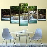 ZCYZYM 5 Piezas Cascada en el Bosque con Stream HD Pintura del Arte del hogar del Cuadro decoración Sala impresión de la Lona Pintura (Color : No Frame, Size (Inch) : Size1)