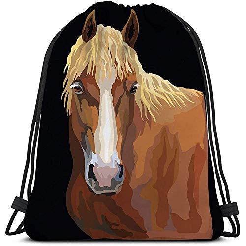 Trekkoord Tas Gym Kleurrijke Portret Paard Hoofd Geïsoleerde Hand Tekenen Zwart Kleurrijke Paard Portret Geometrische