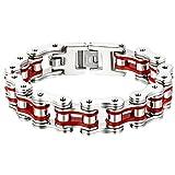 OIDEA Pulsera para hombre con cadena de bicicleta de acero inoxidable de gran ancho pulido, color a elegir rojo