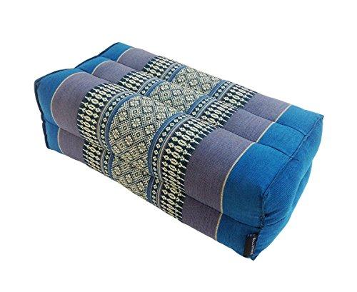Collumino® Traditional Thai Kapok Yoga Support Block Cushion Meditation Pillow size 35 x 15cm (Blue)
