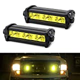iJDMTOY (2) High Power 3-CREE LED Daytime Running Light Kit Compatible With Behind The Grille or Lower Bumper Insert Area, 3000K Yellow