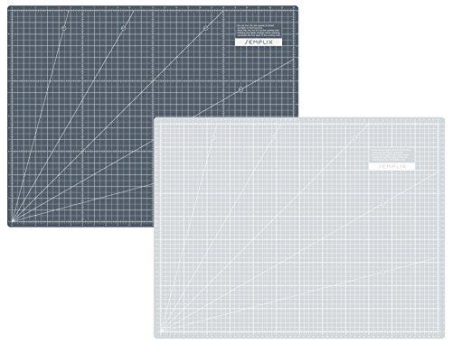 SEMPLIX Selbstheilende Schneidematte A2 in Grün, Rosa, Grau, Türkis, Lila. Ideal fürs Basteln, Nähen und Patchworken. 60x45 Beidseitig Bedruckt. Vorderseite cm, Rückseite inch Bemaßung