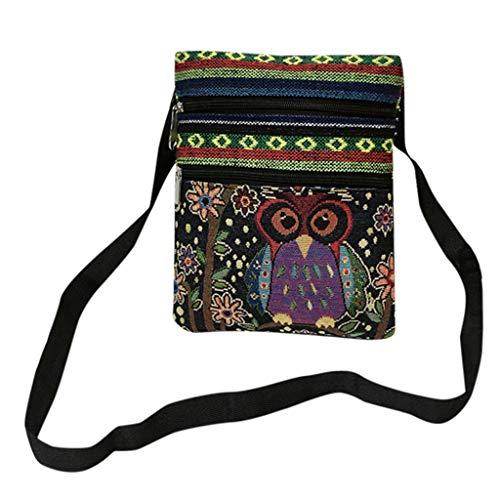 VJGOAL geborduurde uil dragen tassen vrouwen schoudertas handtassen briefdrager pakket, D 2 (zwart) - L-33