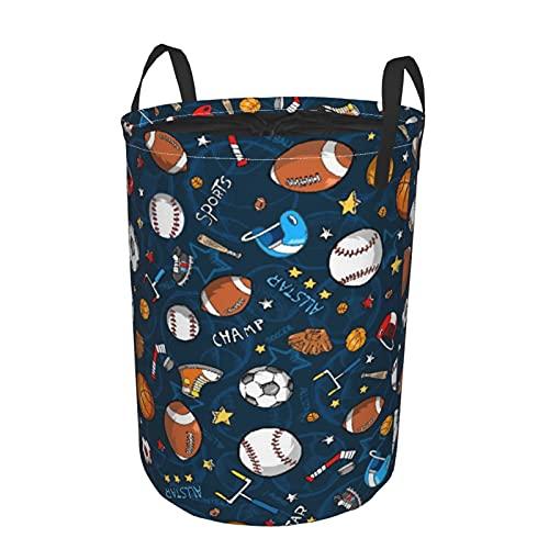 Cesto de lavandería redondo,Campeón de iconos de fútbol y béisbol de baloncesto,cesto de lavandería plegable impermeable con cordón,19'x14'