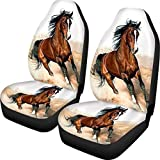 Dreaweet Stylish Horse Print Seat Covers for Car Truck SUV Women Men Dirty-Proof Bucket Cover 2piece Set Easy Wrap