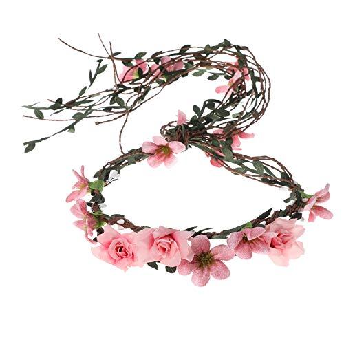 AWAYTR Boho Braut Blume Girlande Stirnband - Frauen Mädchen Einstellbare Baum Rattan Blatt Floral Haar Kranz Hochzeit Fotografie Dekoration (Rosa - 3)