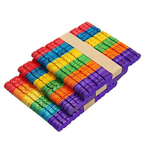 Palillos de madera multicolor Dhaus para manualidades – palos de madera resistente utilizados para proyectos de niños, aulas, hogar y más – 4 1/2 pulgadas de largo, 200 palos por paquete, (CS02)