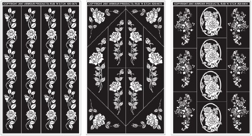 Armour Products Rub n' Etch Glass Etching Stencils 5 inch x 8 inch 3 Pack Rose Designs 12-7042