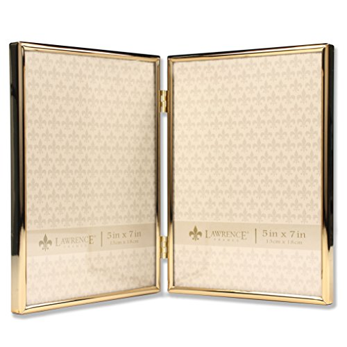Lawrence Frames 5x7 Hinged Double Simply Gold Metal Picture Frame