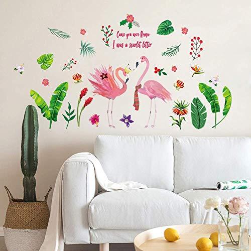 Nordic Home Muursticker Decoratie Meisje Hart Jurk Sticker Blad Groen Flamingo Muursticker 60X90Cm