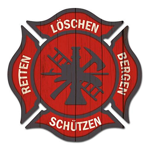Finest Folia 2er Set Feuerwehr Aufkleber rot Autoaufkleber Retten Löschen Bergen Schützen Aufkleber für Helm Auto Kfz Sticker selbstklebend waschstraßenfest R133 (Ohne Wunschname, 5cm 2er Set)