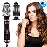 Brosse Soufflante Rotative, 2 In 1 Multi-Fonction Hair Dryer Brush, 3 Vitesses Réglables Rotation Automatique, Négatif Ion...