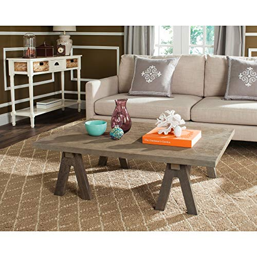 Safavieh Home Collection Prairie Deep Grey Rattan Coffee Table