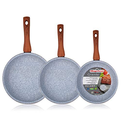 Magefesa Marmol - Set Juego 3 Sartenes 20-24-28 cm inducción Antiadherente Granito Piedra Libre de PFOA, Limpieza lavavajillas Apta para Todas Las cocinas, vitroceramica, Gas, Fabricadas en España