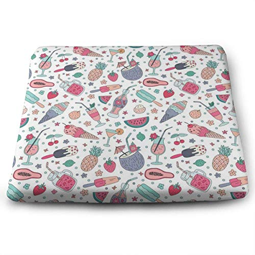 ADGoods Quadratisches Sitzkissen Rice, Almond, Coconut, Oat, Hemp Pattern Seat Cushion Pads Memory Foam Chair Pad Reversible Square Seat Cover Delicate Printing