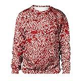 Camisetas de Manga Larga con Estampado 3D para Hombre, órganos de Tripas Camisas de Jersey con Trucos con Estampado de Sangre Fiesta de Halloween Disfraces Divertidos Rojo