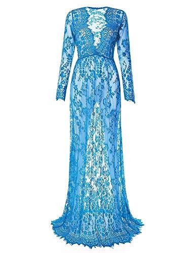 Vrouwen elegante sexy jurk diepe v-hals kant pure strakke lange mouwen rok Trailing mode jurk