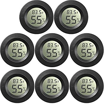 8 Pieces Mini Hygrometer Thermometer Round Digital Humidity Gauge Monitor Electronic Humidity Temperature Meter LCD Display Indoor Outdoor Hygrometer Thermometer for Greenhouse Home Kitchen  Black
