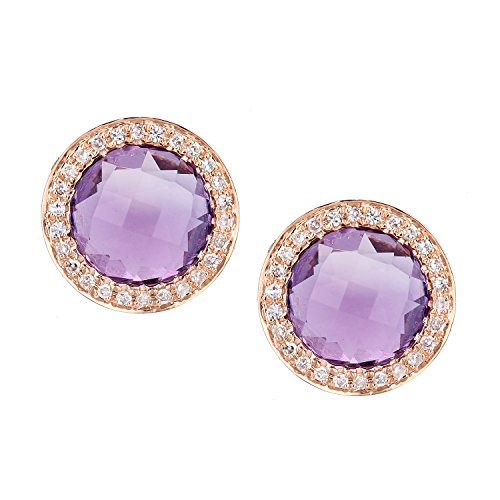 Naava Women's 9 ct Rose Gold Diamond and Amethyst Cluster Stud Earrings