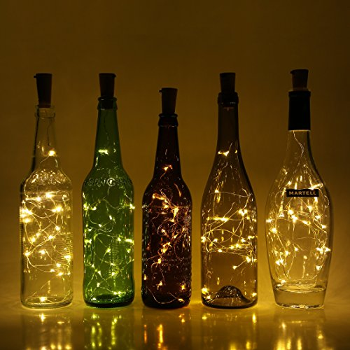 Sumaote 6 PCS LED String Bottle Light, Battery Operated 20 Micro Starry LED Silver Copper Wire Lights, 6.5 Feet/2M, Best for Wine Bottle Lights,Party,Wedding and Home Decoration (Warm White)