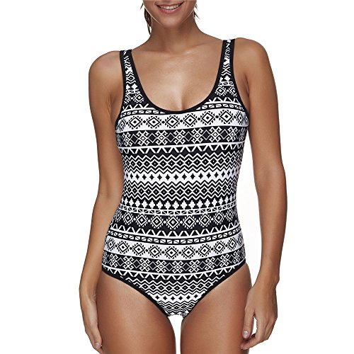 Amadoierly One Piece Badeanzug Indian Style Bademode Bikini Streifen, schwarz, M