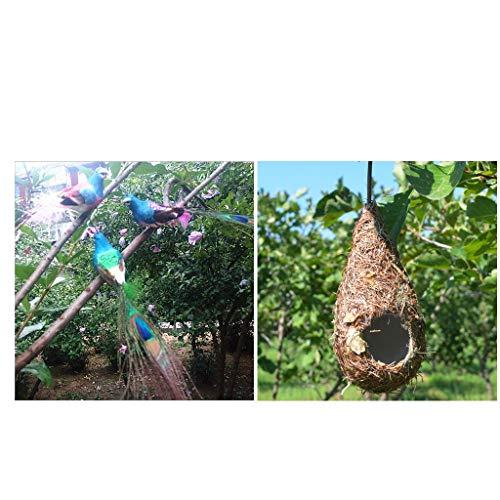 freneci Jaulas de Pájaros Artificiales de Espuma Decoración de árboles + Cueva de Nido de Pájaros de Hierba Tejida a Mano