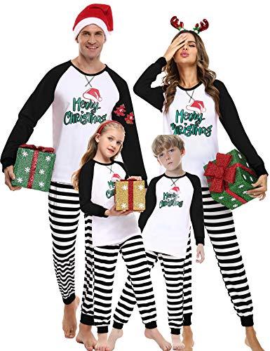 Weihnachten Schlafanzug Familien Pyjama Set Lang Fun-Nachtwäsche Herren Damen Jungen Mädchen Nachthemd Hausanzug mit Weihnachtswortmuster